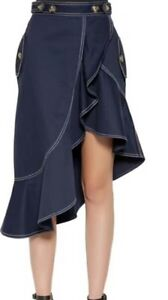 Asymmetric-Drape-Dark-Blue-Crepe-Ruffle-Denim-Skirt