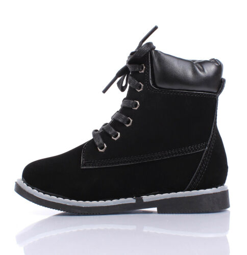 Fashion New Lace Up Preschool Girls Combat Military Youth Ankle Boots Kids Shoes
