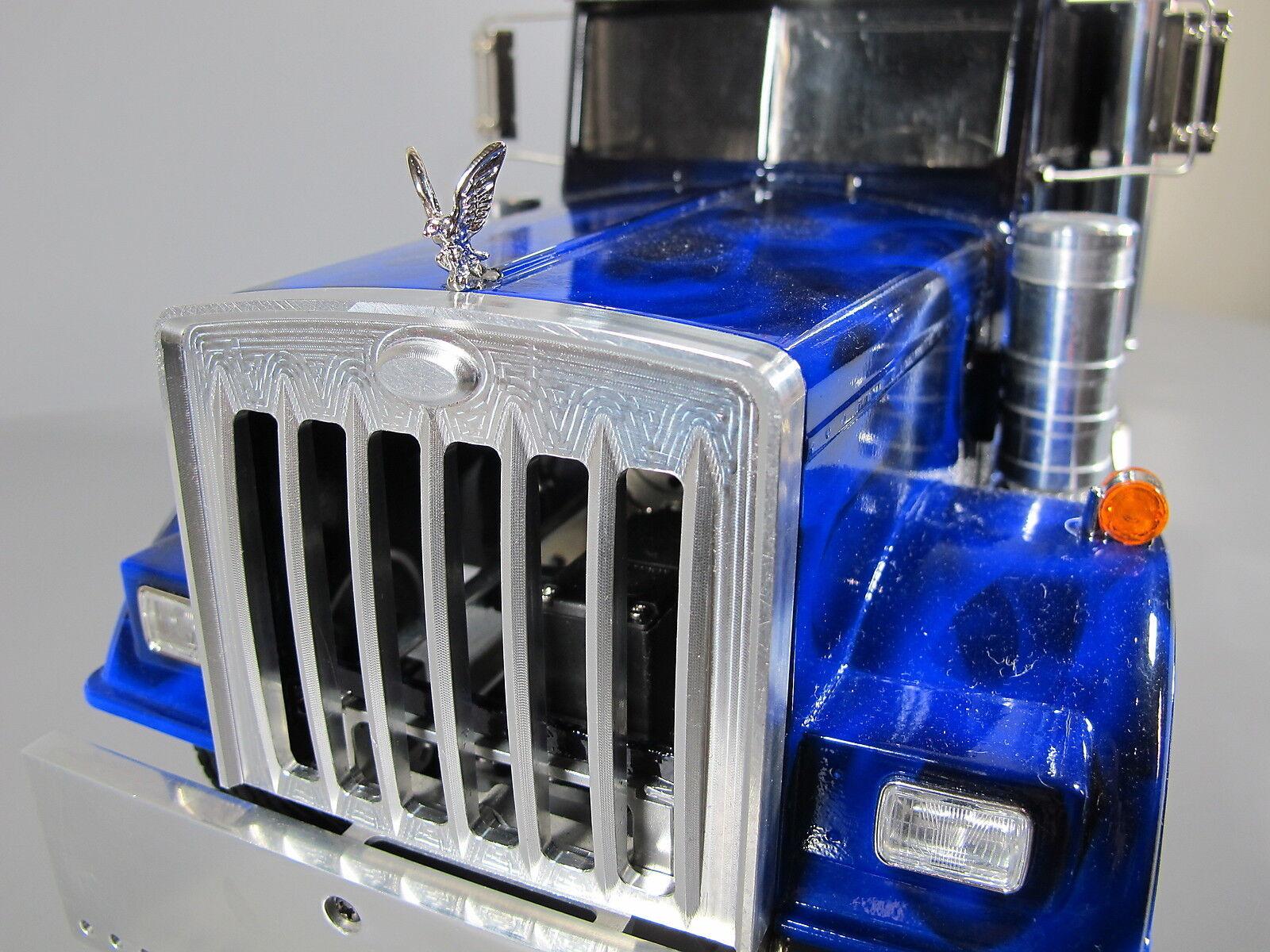 Aluminum Front Grill Guard + Hood Eagle Ornament 1 14 Tamiya King Grand Hauler