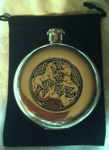 CELTIC HORSE Medallion FLASK 5oz Round STAINLESS STEEL Gift Bag /& Box HUNT GIFT