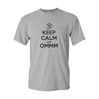 KEEP CALM AND OMMM funny mens t shirt  BUDDHA MEDITATION OM Buddhism yoga gift