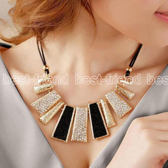 Fashion Jewelry Pendant Chain Crystal Choker Chunky Statement Bib Necklace Charm
