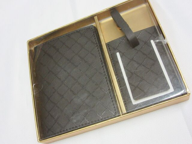 Black Patterned Eccolo Faux Leather Passport Cover and Luggage Tag Set
