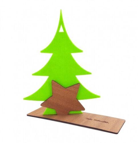 HOLZ Dekoration Baum 3 Größen viele Farben STERN FILZ WEIHNACHTEN Deko TANNE