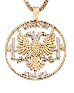 albanian eagle pendant necklace 14k rhodium plated 1 1