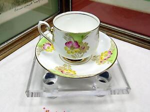 "PHOENIX CHINA ENGLAND PINK & YELLOW DAISY 2 5/8"" CUP & SAUCER SET 1912-1959"