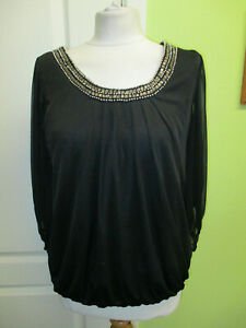 DOROTHY-PERKINS-SIZE-12-LADIES-BLACK-TOP-WITH-JEWELLED-amp-BEADED-NECK