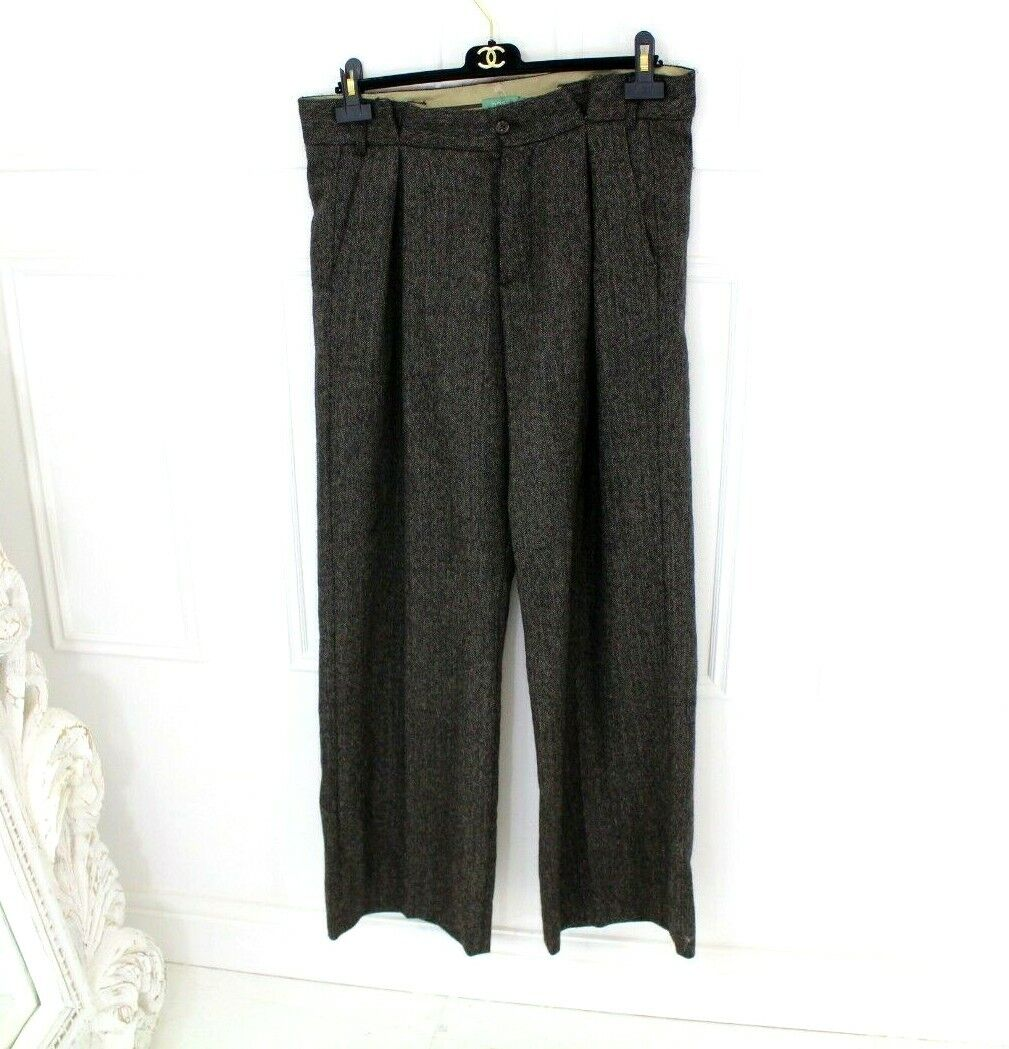 Anthropologie Hoss Intropia Brown Wool Paper Bag High Wide Leg Trousers 40 14