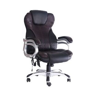 Brown-6-point-Massage-Office-Computer-Chair-Luxury-Leather-Swivel-Reclining