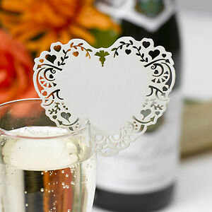 aa9916ff94e 10 IVORY WINE GLASS PLACE NAME CARDS Laser Cut VINTAGE ROMANCE Heart ...