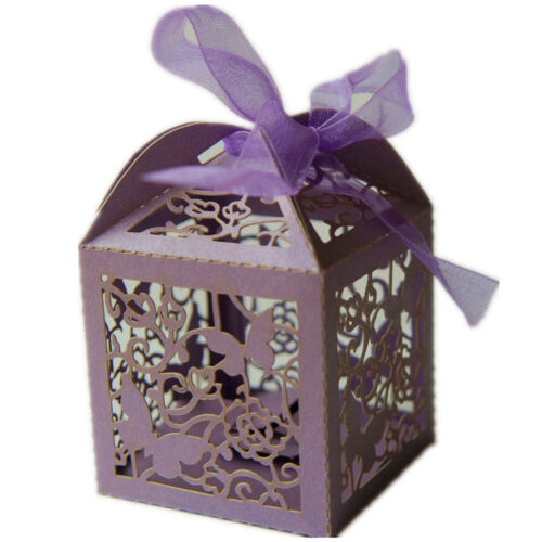 Butterfly Favour Box with Ribbon For Wedding Party Gift Sweet PURPLE 74B-3