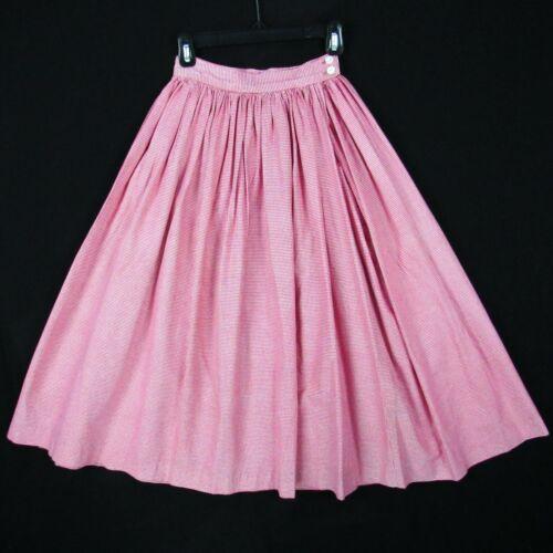 """Vintage 50s Tiny Gingham Plaid Full Skirt XS 23"""" W"""