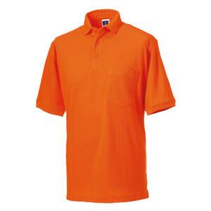 Polo-para-Hombre-Russell-Resistente-T-Shirt-Camisa-Camiseta-De-Poli-Algodon-J011M-comodidad-superior