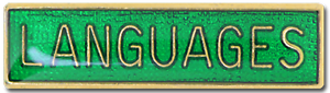 Languages School Subject Bar Pin Badge in Green Enamel