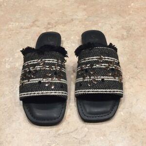 Simply Vera Vera Wang Charden Embellished Frayed Slip On Black Sandals Size: 6.5