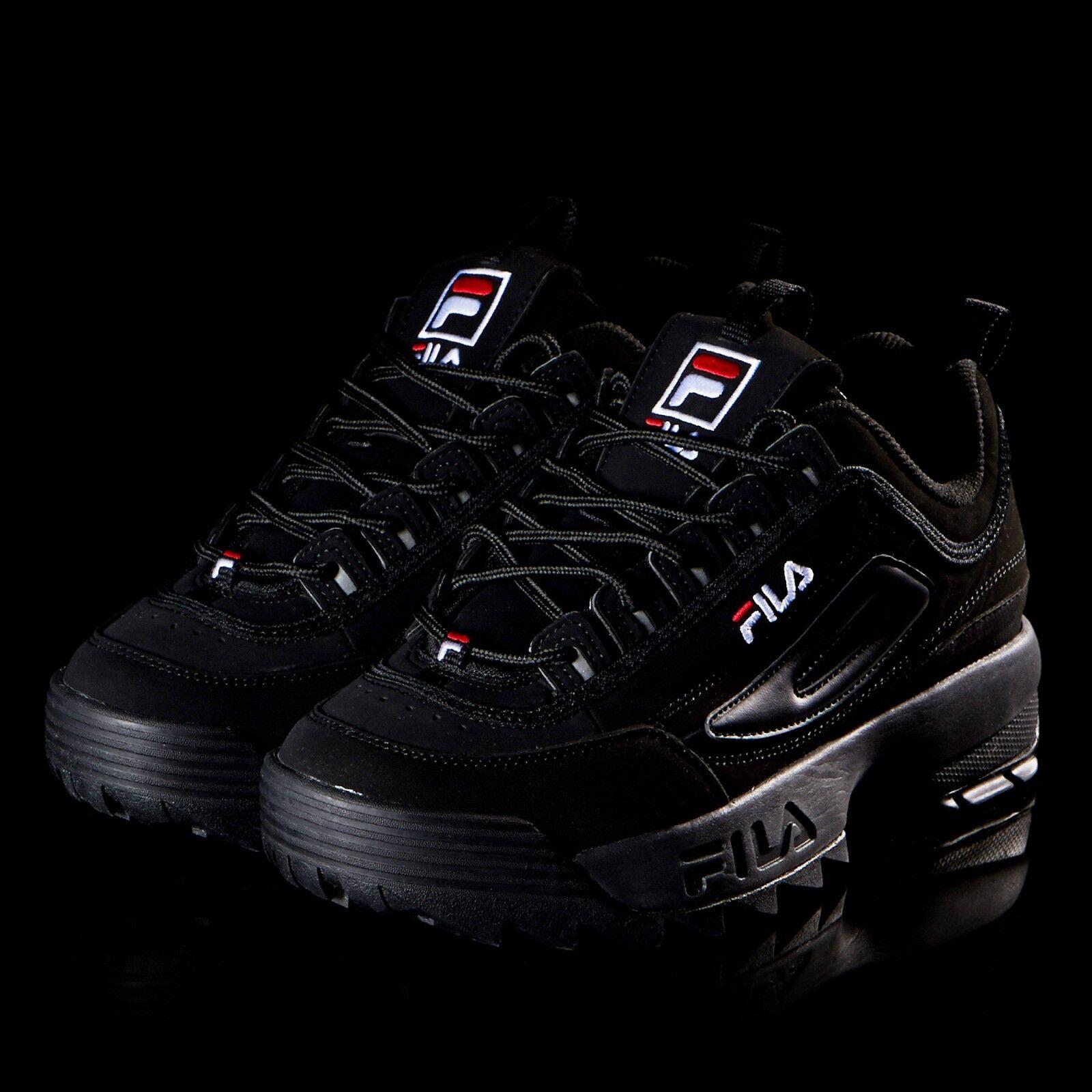 2018 FILA Disruptor II 2 Triple Black Shoes Unisex Comfortable Great discount