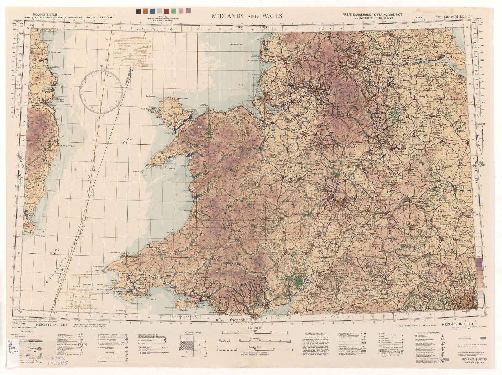 WW2 RAF MAP OF WALES PRINT