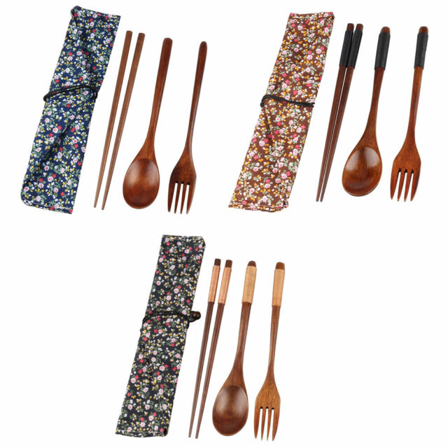Asian Style Wooden Cutlery Sets with Spoon Fork Chopsticks Dinnerware Suit Set