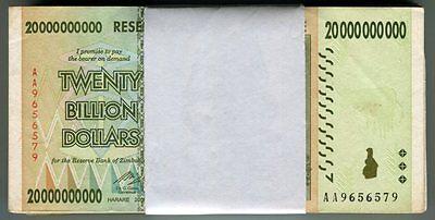Zimbabwe 20 Billion Dollars x 10 pcs AA 2008 P86 VF currency bills