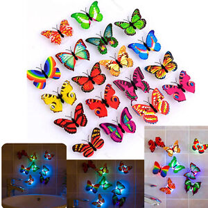 Colorful Changing Butterfly LED Lamp Night Light Home Room Party Desk Wall Decor