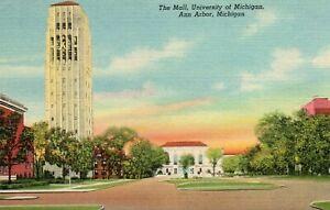The-Mall-University-of-Michigan-Ann-Arbor-MI-Stofflet-News-Company-1941-Postcard