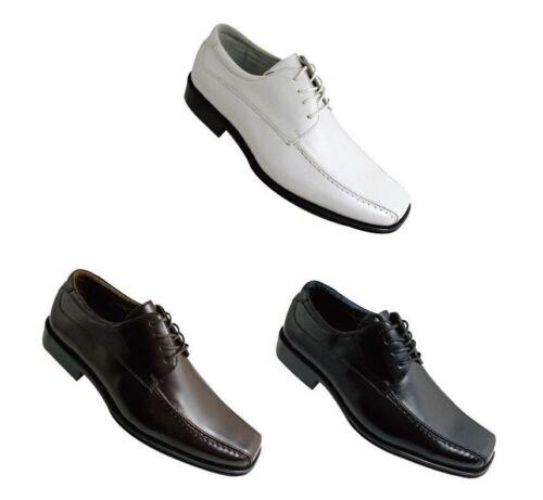 Black /& Brown Men/'s Oxfords Faux Leather Fashion Dress Shoes 4805 White
