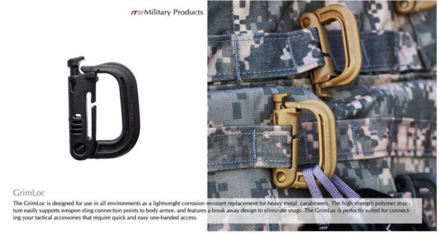 GrimLoc D-Ring Locking Carabiners ITW Nexus MOLLE Foliage Green US Military Army