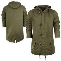 Mens Parka Parker Coat Jacket Cotton Fishtail Army Ma1 Khaki Hooded Sizes S-xl