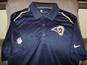 NFL Los Angeles L.A. Rams NIKE Dri Fit Elite Coaches Polo Golf Shirt ... 0e8aea2e2