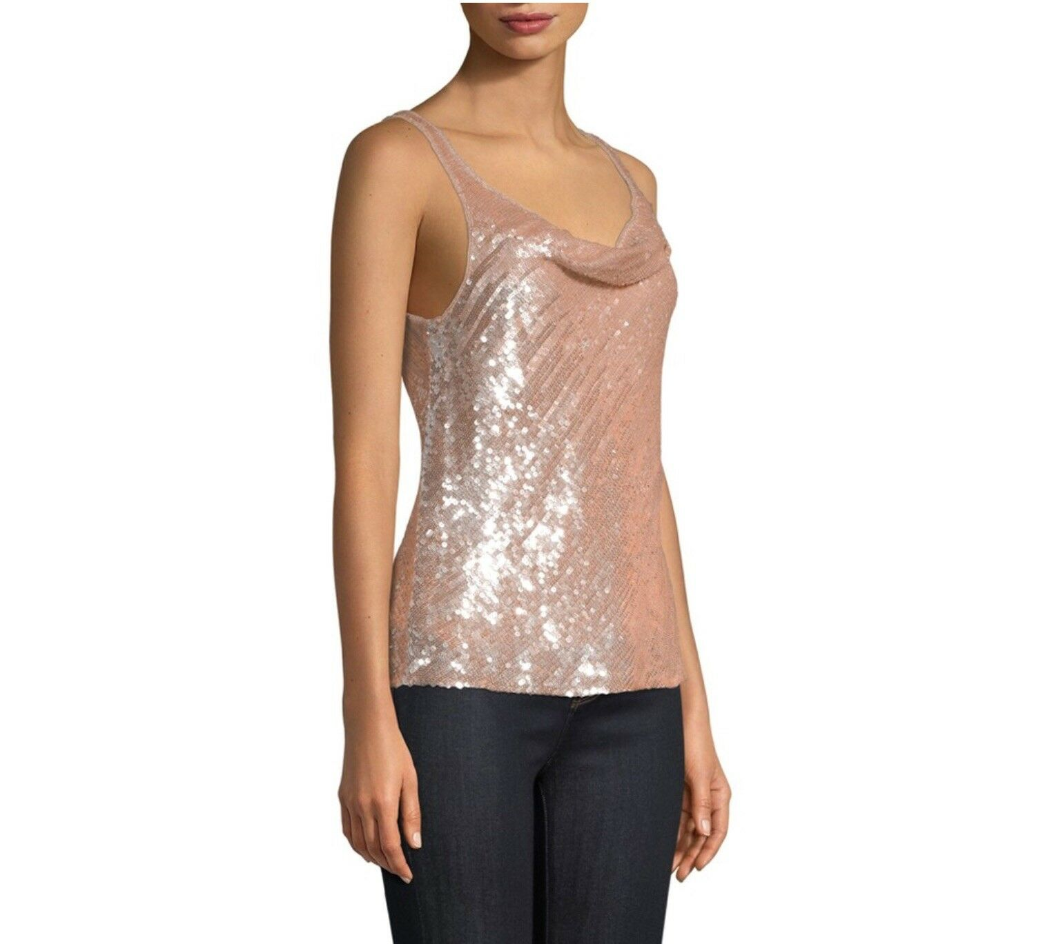 Parker Sequin Beaded Cowl Tank Small NWT