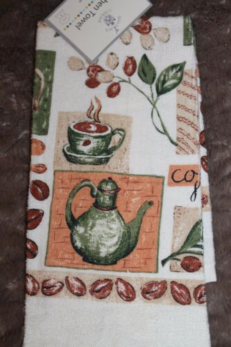 SULTAN/'S LINENS COTTON POLY COFFEE TEA CUPS KITCHEN  DISH TOWEL ECRU GREEN PEACH