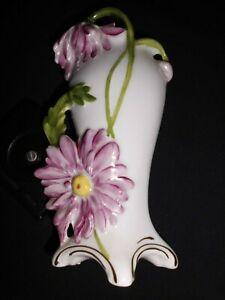 Porz-Vase-Jugendstil-bemalt-Bluete-034-Scheibe-Alsbach-034-Thueringen