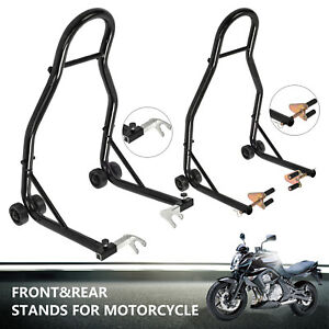 Motorcycle-Bike-Stand-Front-amp-Rear-Heavy-Duty-Motorbike-Lift-Paddock-Carrier