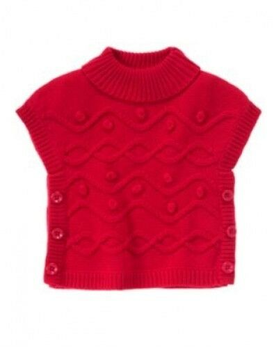 NWT Gymboree Winter Cheer Red Poncho Cape Size 12-18m 2T 3T  5T