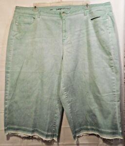 7fb8d2ec750 LANE BRYANT plus womens Stretch green let-down hem jean crop pants ...
