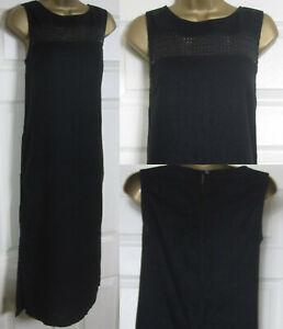 NEU-NEXT-Leinen-Blend-Midi-Sommerkleid-Armellos-Crochet-Detail-Taschen-schwarz-8-24
