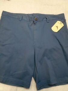 Tommy-Bahama-Stretch-Cotton-Blend-Solid-Slate-Blue-Shorts-NWT-40-waist-99-50