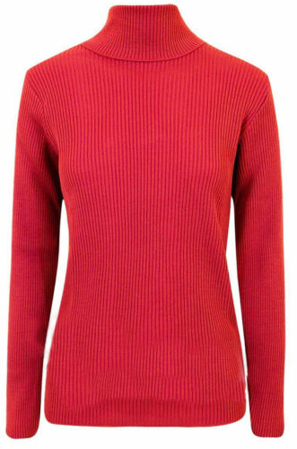 WOMENS LADIES RIBBED POLO NECK TOP JUMPER TURTLE ROLL NECK FULL SLEEVE PLAIN TOP