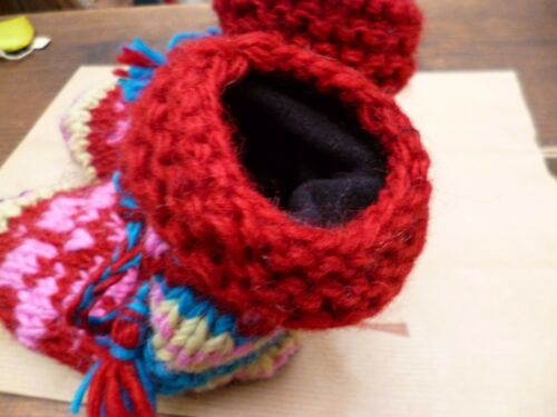 Children Blue Red Pink Fair Trade Knitted Lined Wool Handmade Wool Slipper Socks