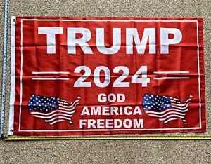 DONALD TRUMP FLAG *FREE SHIP USA SELLER!* God Bless America USA Flag Poster 3x5/'