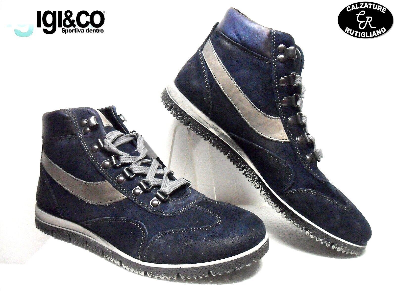 IGI & CO art.98031 00 zapatos hombres MODELLO SPORTIVO IN PELLE SCAMOSCIATA azul