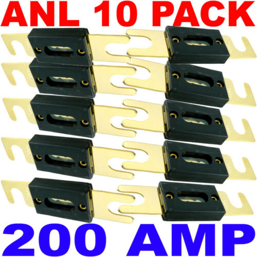10x High Quality Gold Plated 200 Amp 200A Car Audio ANL Type Blade Fuse 10 pack