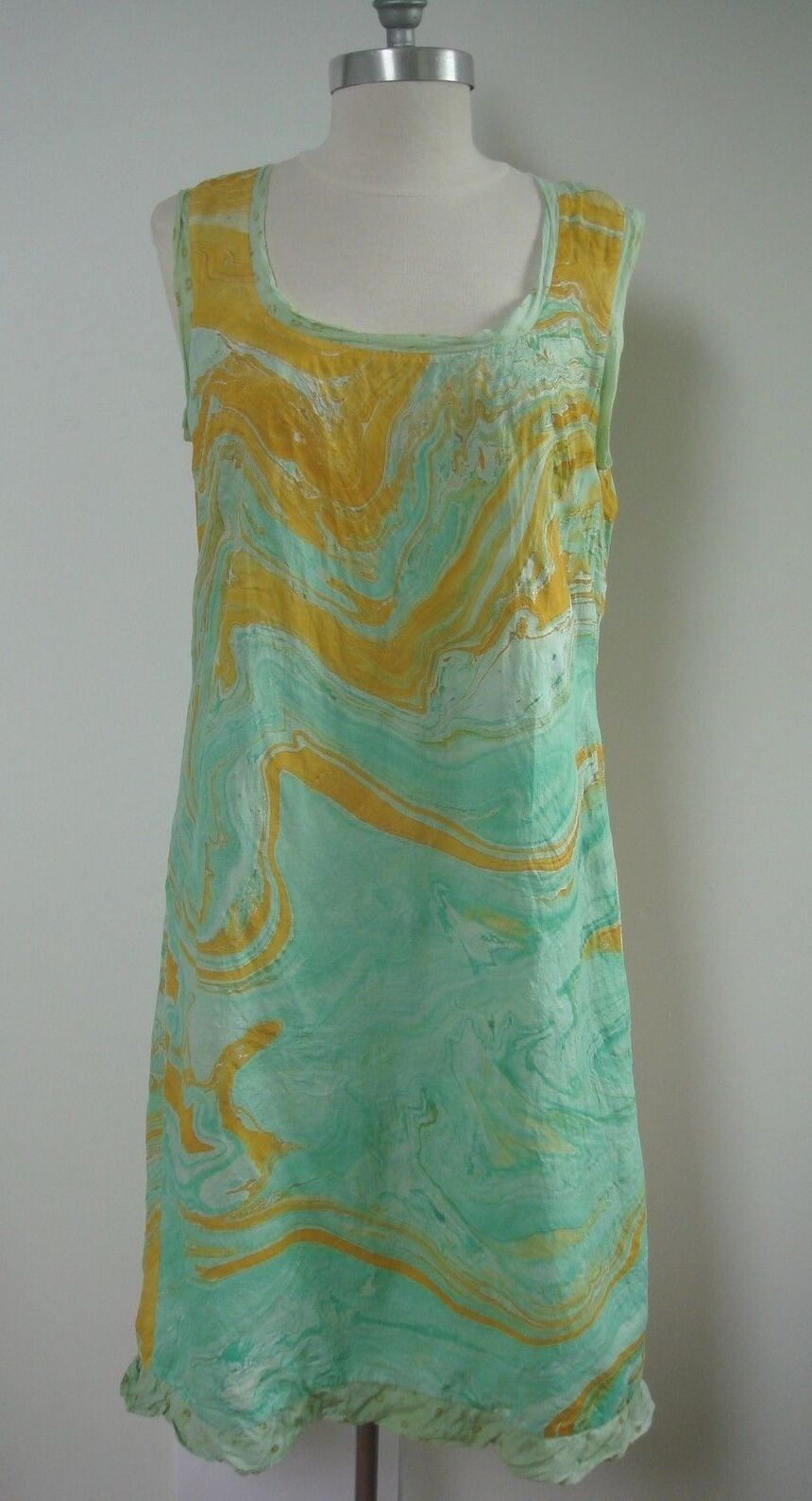DOSA marbleized silk and floral cotton reversible dress size 3 WORN ONCE
