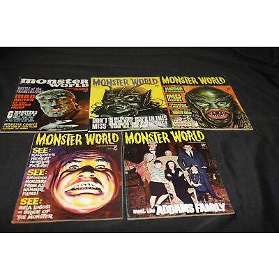 1966 MONSTER WORLD #1,3,4,5,9 LOT ADAMS FAMILY, WEREWOLF,CREATURE NICE LOT! VF-