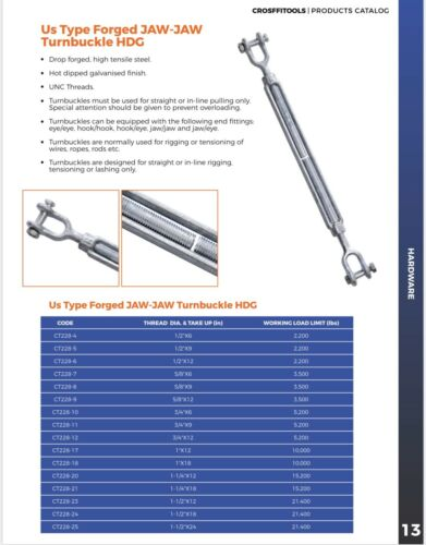 """2x Turnbuckles 5//8""""x9 Drop Forged//Hot Dipped Galvanized Steel Jaw//Jaw"""