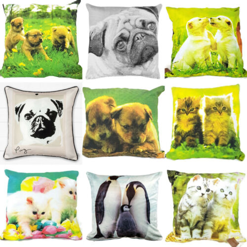 Gatitos Gatos Perros Puppys Pug Pingüino Cushion Covers 18x18/""