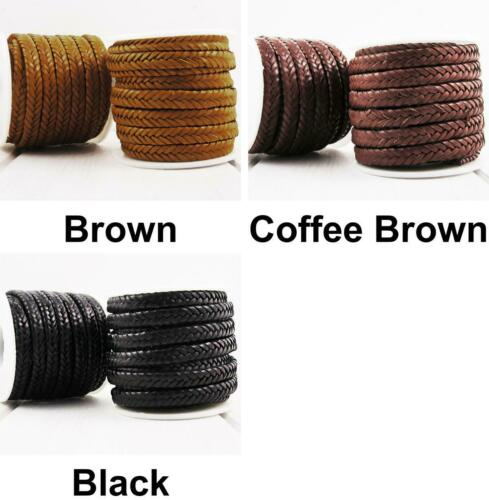 0.92m 3ft 1yrd PU Soft Leather Braided Rope Flat Cord Bracelet Necklace Cowhide