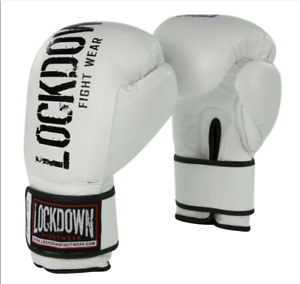 Lockdown professionale BIANCO Guantoni Da Boxe Sparring Muay Thai Kickboxing 20oz