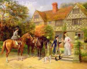 Man Horse Women Flowers Romance Dog 8x10 Print 2373 Two Roses by Heywood Hardy