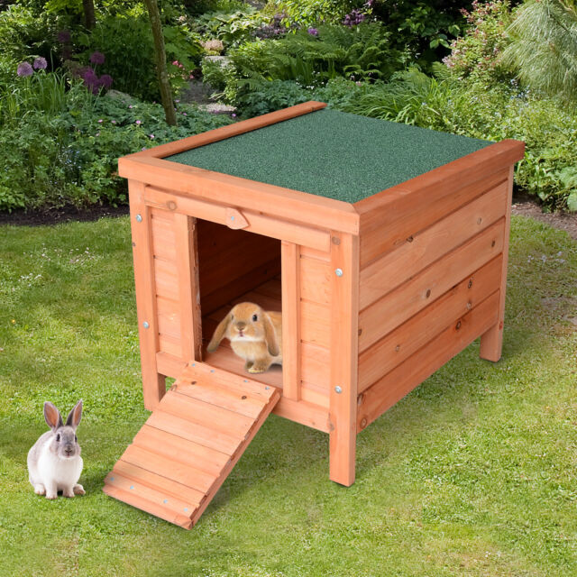 Pawhut 48 2 Story Elevated Stacked Wooden Rabbit Hutch Small Animal Habitat For Sale Online Ebay